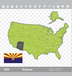 Arizona flag and map vector