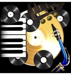 background music vinyl records saxophone guitar vector image