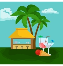 Beach bar Summer tropical under the palm tree vector image