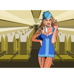 beautiful sexy stewardess in the aircraft cabin vector image