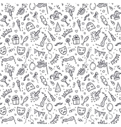 Black carnival symbols in doodle style on white vector