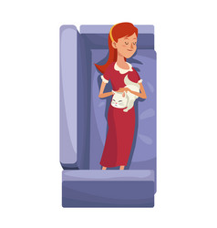 Character woman sleep resting sofa with her cat vector