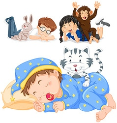 Children and their pets vector image vector image