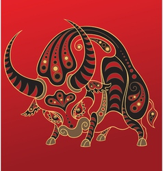 Chinese horoscope Year of the ox vector image vector image