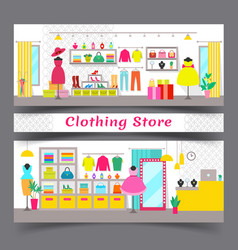 clothing store full of chic fashionable garments vector image