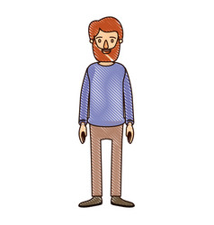 color crayon stripe cartoon full body man with vector image vector image