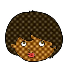 comic cartoon female face looking upwards vector image vector image