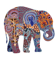 Decorated elephant on a white background vector