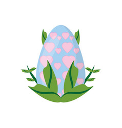 Easter egg heart decoration and green leaves vector