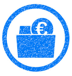 euro wallet rounded icon rubber stamp vector image