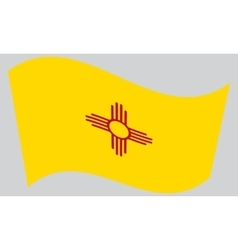 Flag of new mexico waving on gray background vector