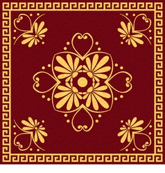 Gold and red greek ornament meander vector