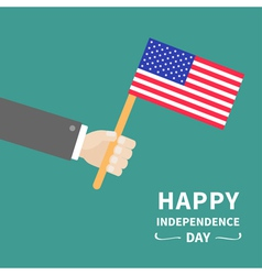 hand businessman american flag independence day vector image