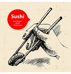 Hand drawn sushi sketch background vector