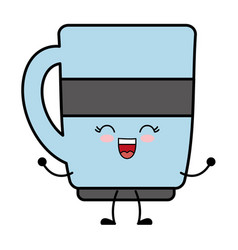 Kawaii coffee cup icon vector