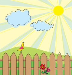 landscape with singing bird vector image vector image