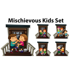 many mischievous kids at front door vector image vector image