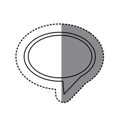 Monochrome sticker of oval speech with tail to vector