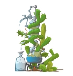 Moonshine from cactus image in cartoon style vector