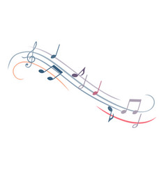 Music note melody musical watercolor set disco vector