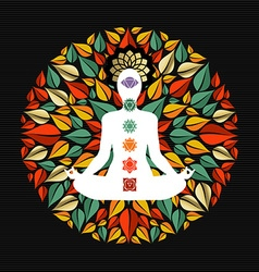 Nature mandala with yoga pose and chakra icons vector