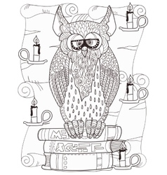 Owl on books vector image vector image