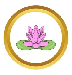 Pink lotus flower icon vector image