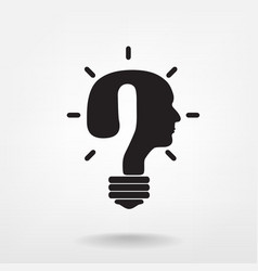 Question mark man head symbol and light bulb shape vector