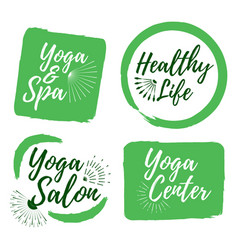 set of yoga club and healthy lifestyle badges vector image vector image
