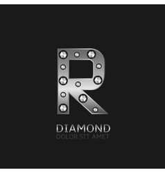 Silver r letter vector