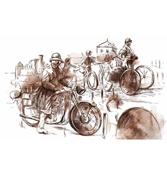 Soldiers on bicycles and a soldier on a motorcycle vector