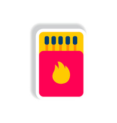Stylish icon in paper sticker style matchbox and vector