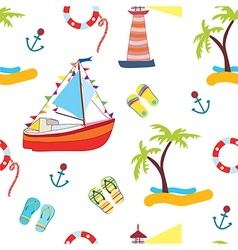 Summer sea seamless with yacht vector image