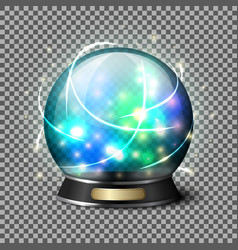 Transparent realistic bright glowing crystal ball vector