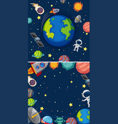 Two scenes of planets in galaxy vector