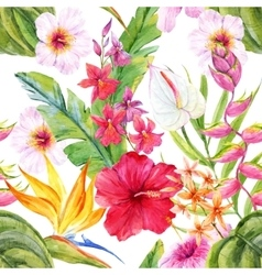 Watercolor tropical floral pattern vector image vector image