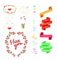 wedding set with birds hearts arrows ribbons vector image vector image