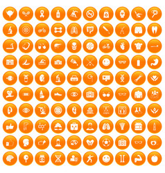 100 health icons set orange vector