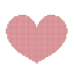 Hand-made big red heart embroidered with a cross vector