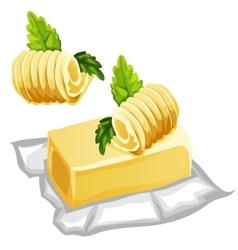 Piece of delicious butter with herbs in a wrapper vector