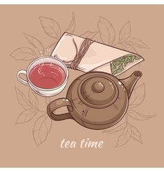Teapot with cup of tea vector