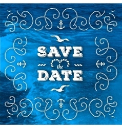 Nautical save the date cards marine wedding vector
