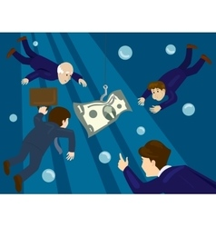 Business people hunt for money vector image