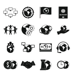 global connections icons set simple style vector image