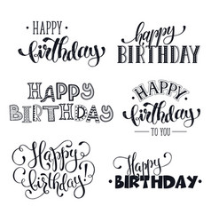 Hand written happy birthday phrases vector