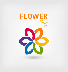 flower shop logo design rainbow colors vector image