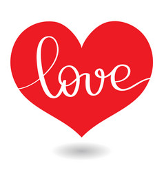 Love word in red heart calligraphy and vector