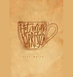 Flat white cup craft vector