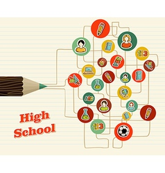 Back to school icons education pencil vector