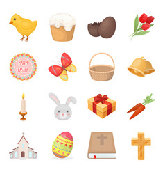 easter cake egg chicken rabbit butterfly and vector image